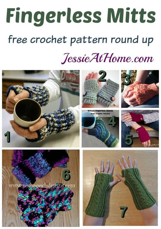 Fingerless Mitts - free crochet pattern round up from Jessie At Home ...