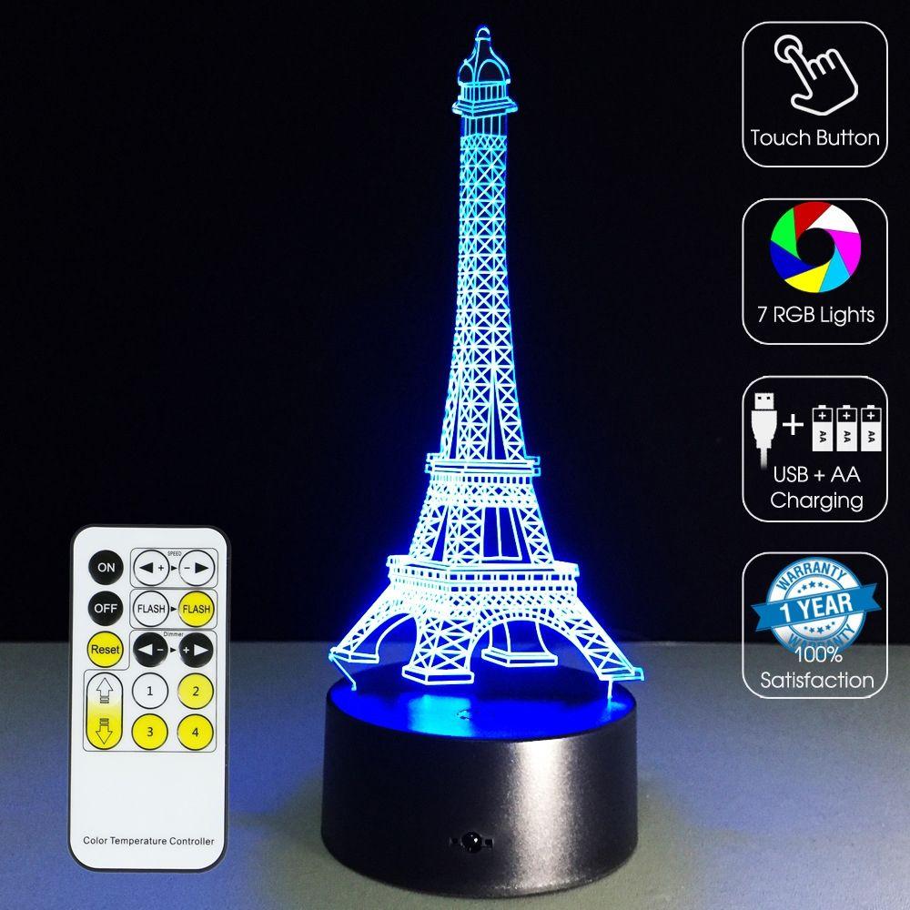 3d Led Optical Illusion Lamp Eiffel Tower Led Lamp Design 3d Illusion Lamp 3d Optical Illusions