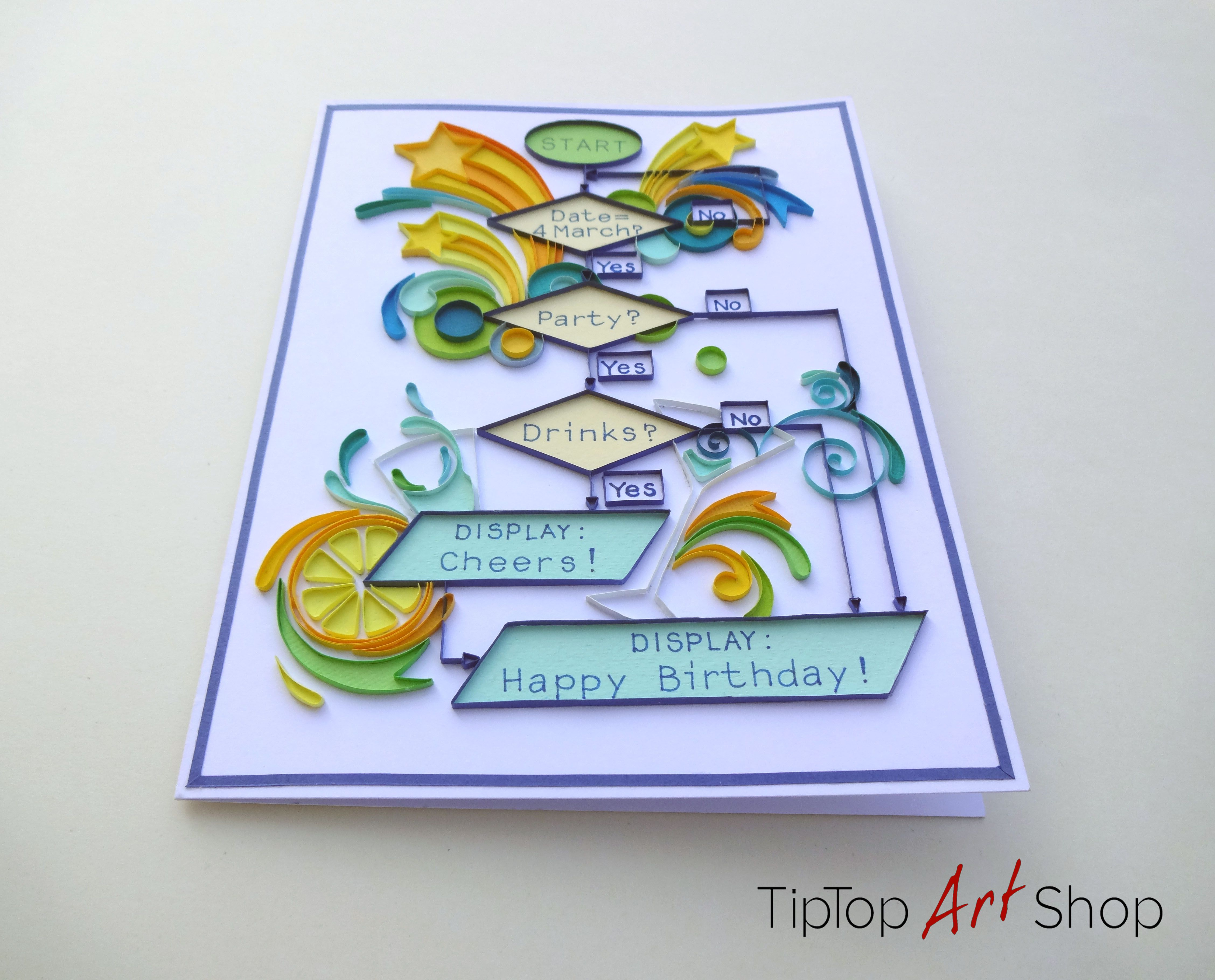 Funny Quilling Birthday Card For IT Engineers Homemade Paper Greeting By TipTopArtShop