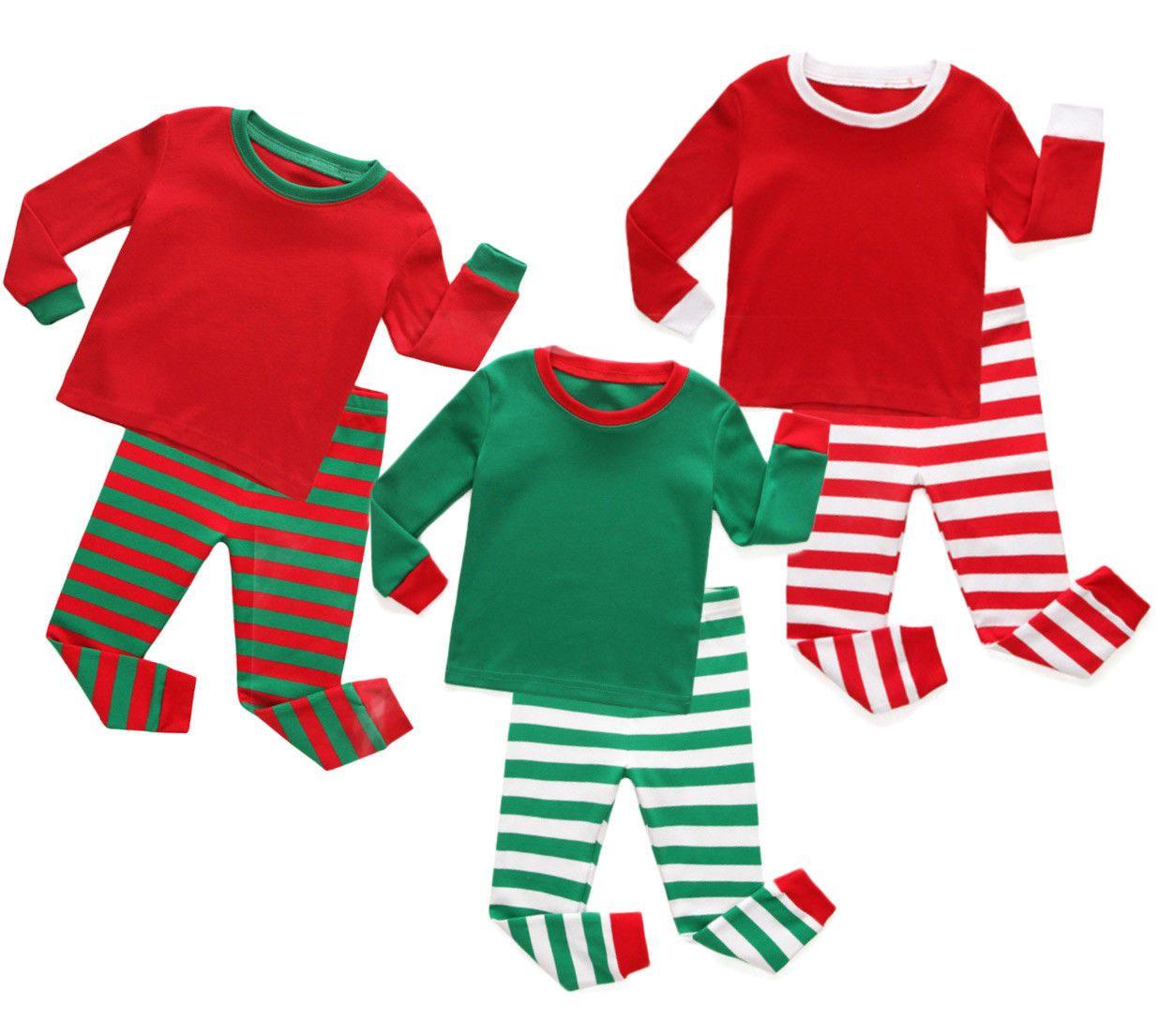 06eb20c33b Christmas Green Red Brother Sister Boys Girls Matching Strip Pajamas Lounge  Set