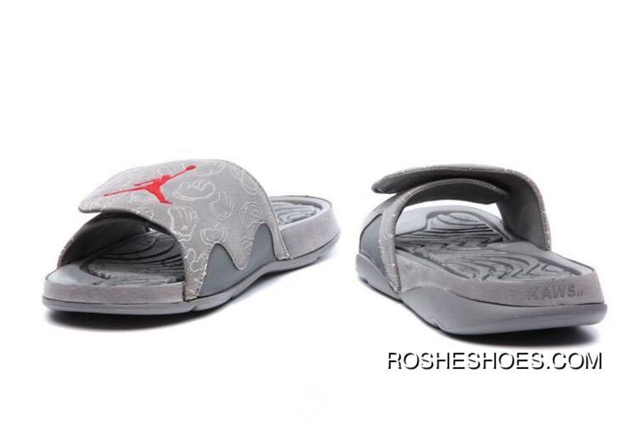 "28707f48a Copuon KAWS X Air Jordan 4 ""Cool Grey"" Slide Slippers Glow In The Dark"