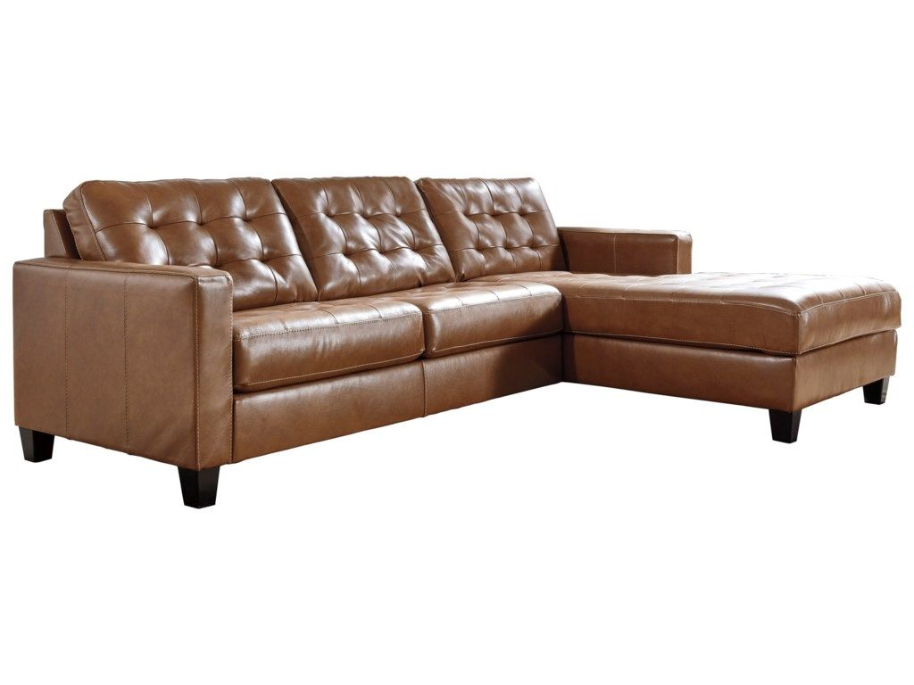 Signature Design By Ashley Baskove Leather Match 2 Piece Sectional With Chaise And Tufting Beck S Furn Sectional Sofa With Chaise Couch With Chaise Sectional