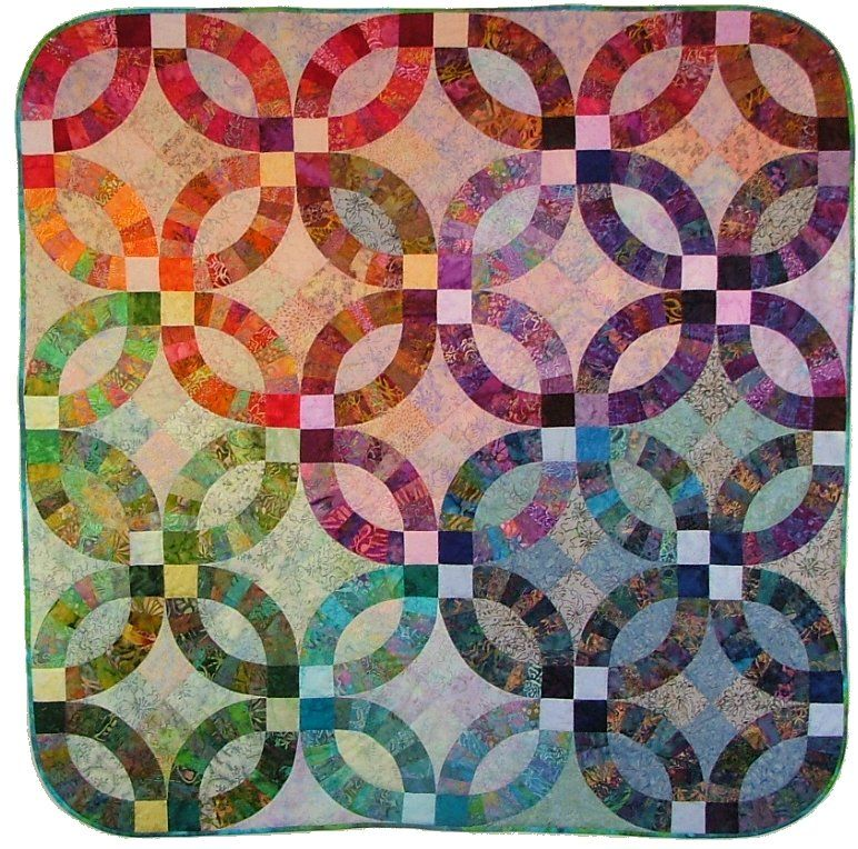 Glowing Wedding Ring Pattern And Kit By Virginia Robertson Designs Shown In Princess Mira Double Wedding Ring Quilt Wedding Ring Quilt Kit Wedding Ring Quilt