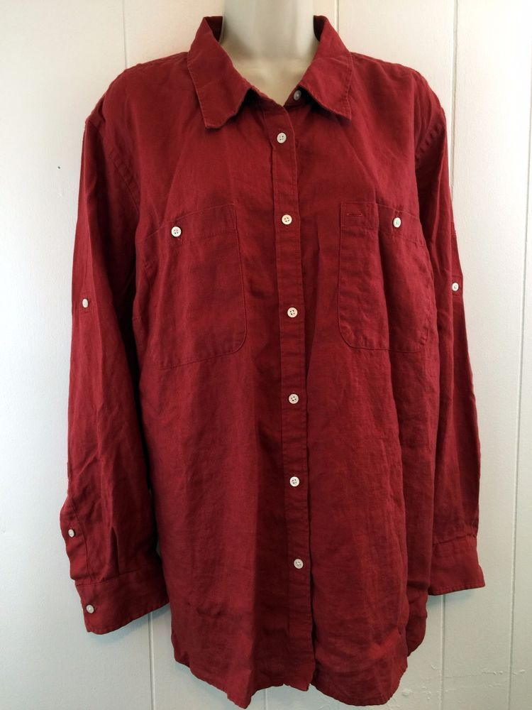 d25e7bb636e Lauren Ralph Lauren Women s Plus 3X Top Red Linen Roll Slv Button Shirt  Pockets  LaurenRalphLauren  ButtonDownShirt  Casual