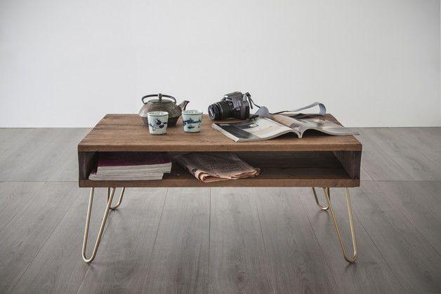 Beistelltisch moderner Couchtisch im Palettenmöbel Look aus solidem