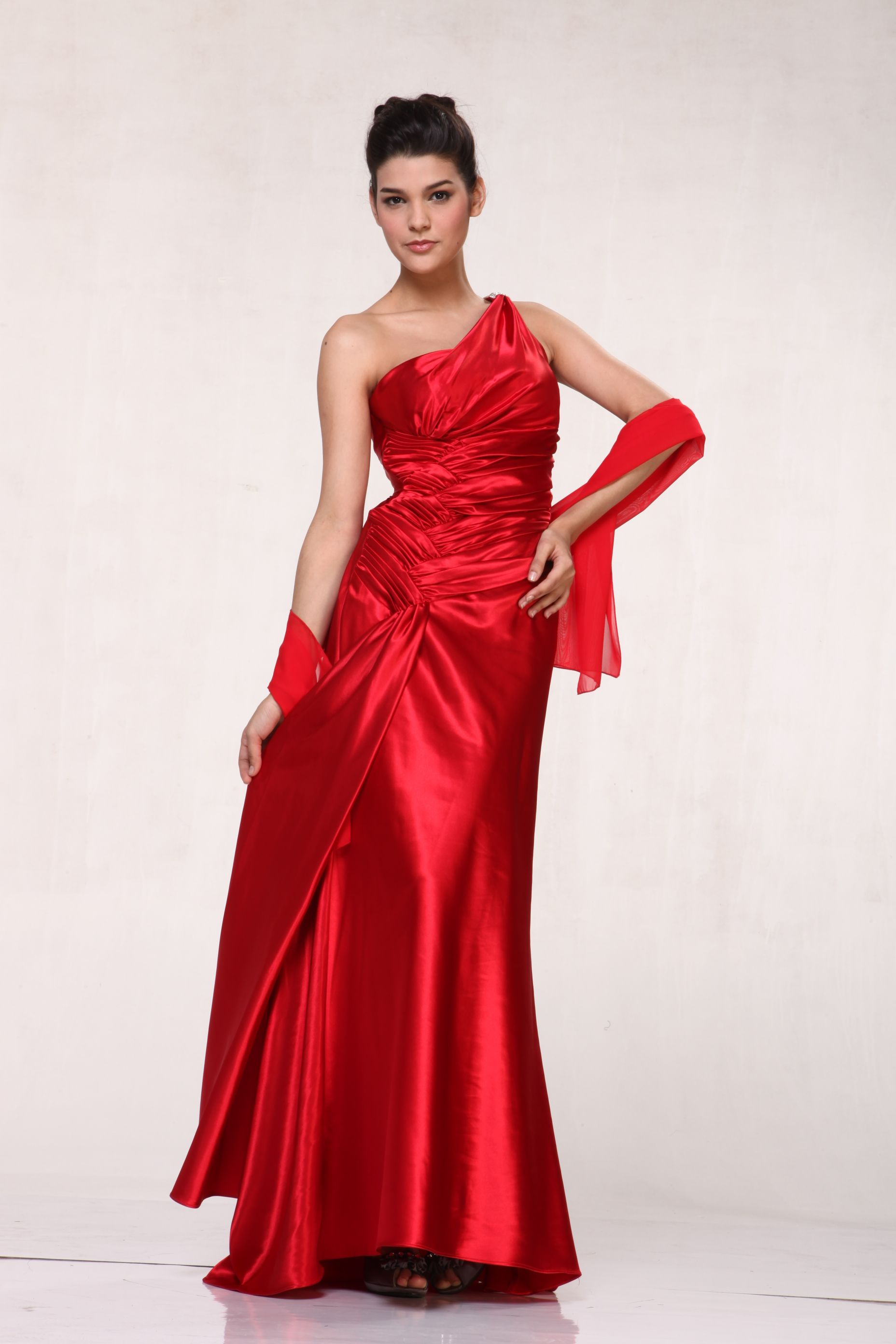 One Shoulder Ruched Long Bridesmaid, Long Prom & Homecoming Dress
