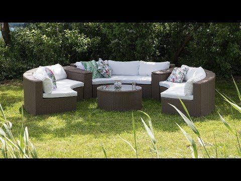 Lounge Set Rattan Hellbraun 9 Sitzer Rund Auflagen Weiss Severo Beliani De Garten Essgruppe Lounge Set Rattan Outdoor Sofa Sets
