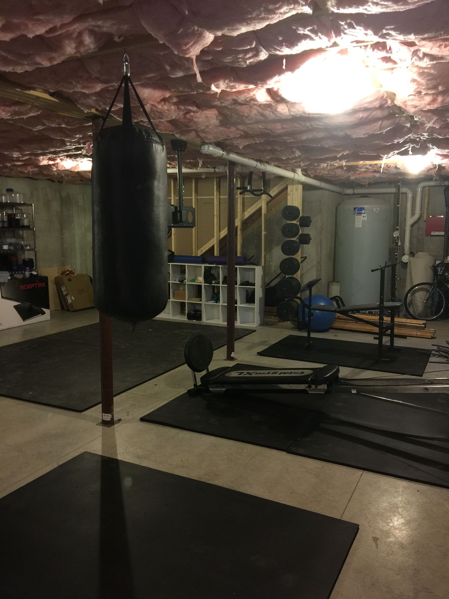 Heavy bag cubbies weights mounted with pipe
