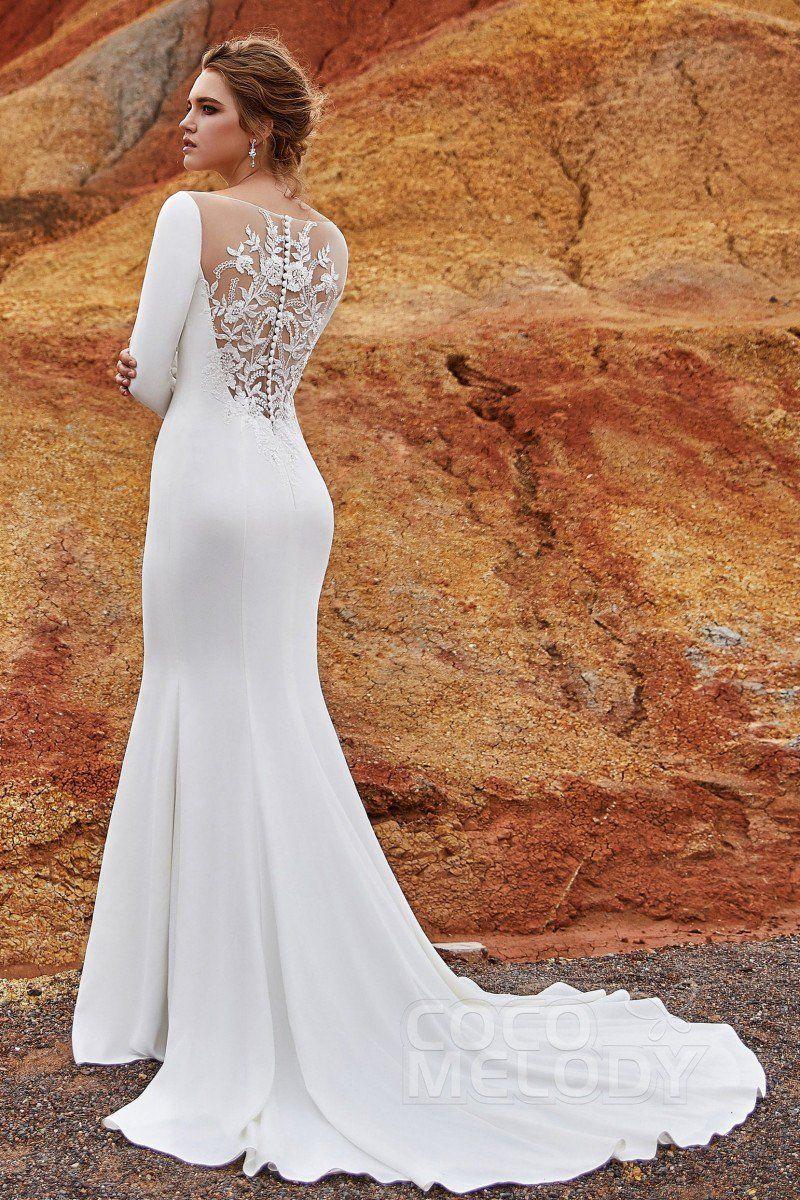 1f3553293 Trumpet-Mermaid Bateau Knitted Fabric Wedding Dress LD5817 | Cocomelody