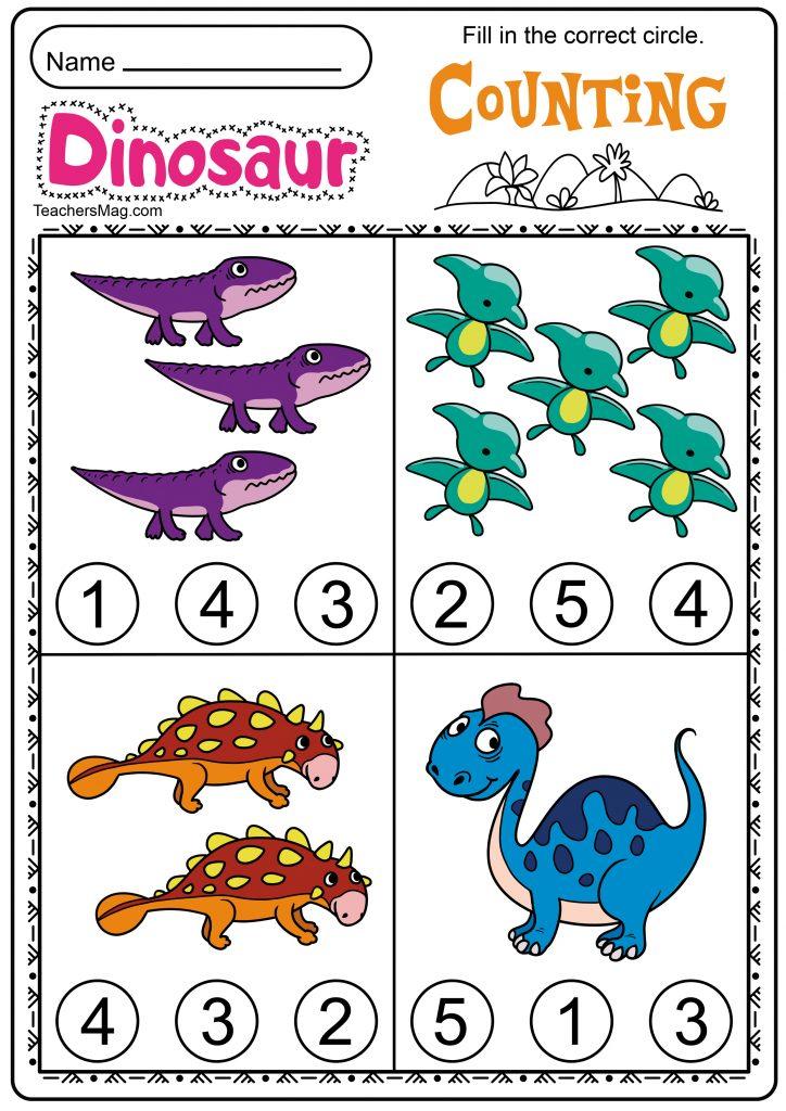 Free Printable Dinosaur Worksheets - Preschool Children Akctivitiys