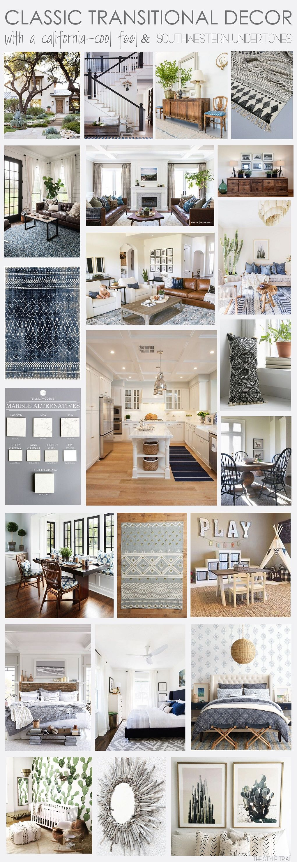 Classic transitional decor with a California-cool feel and ...