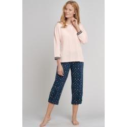 Photo of Skjorte 3/4 ermet knapp placket print rosé – Mix + Relax størrelse 42