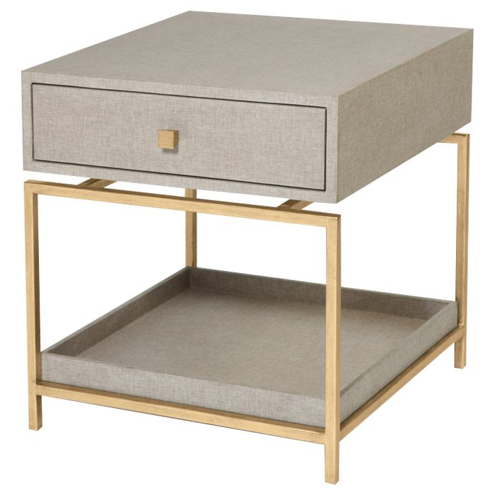 Mid century side table in flax gold might be interesting in suede finish bedroom - Modern bedside table ...