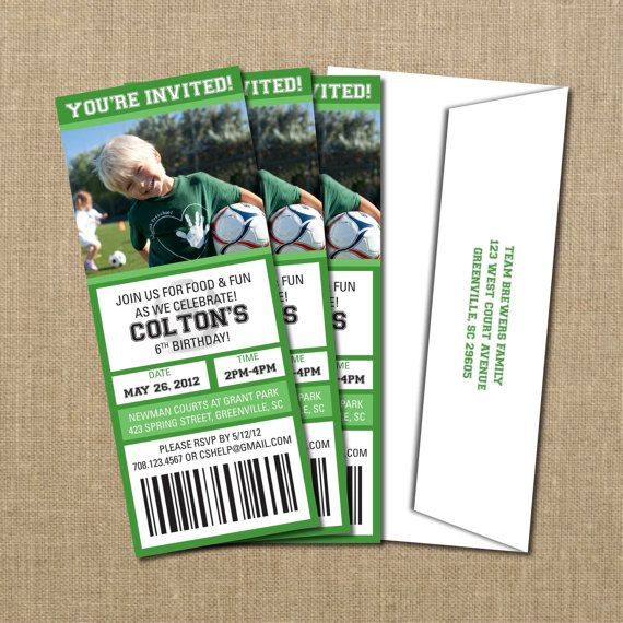 Soccer Birthday Game Ticket Invitation By PerchedOwl On Etsy 1500