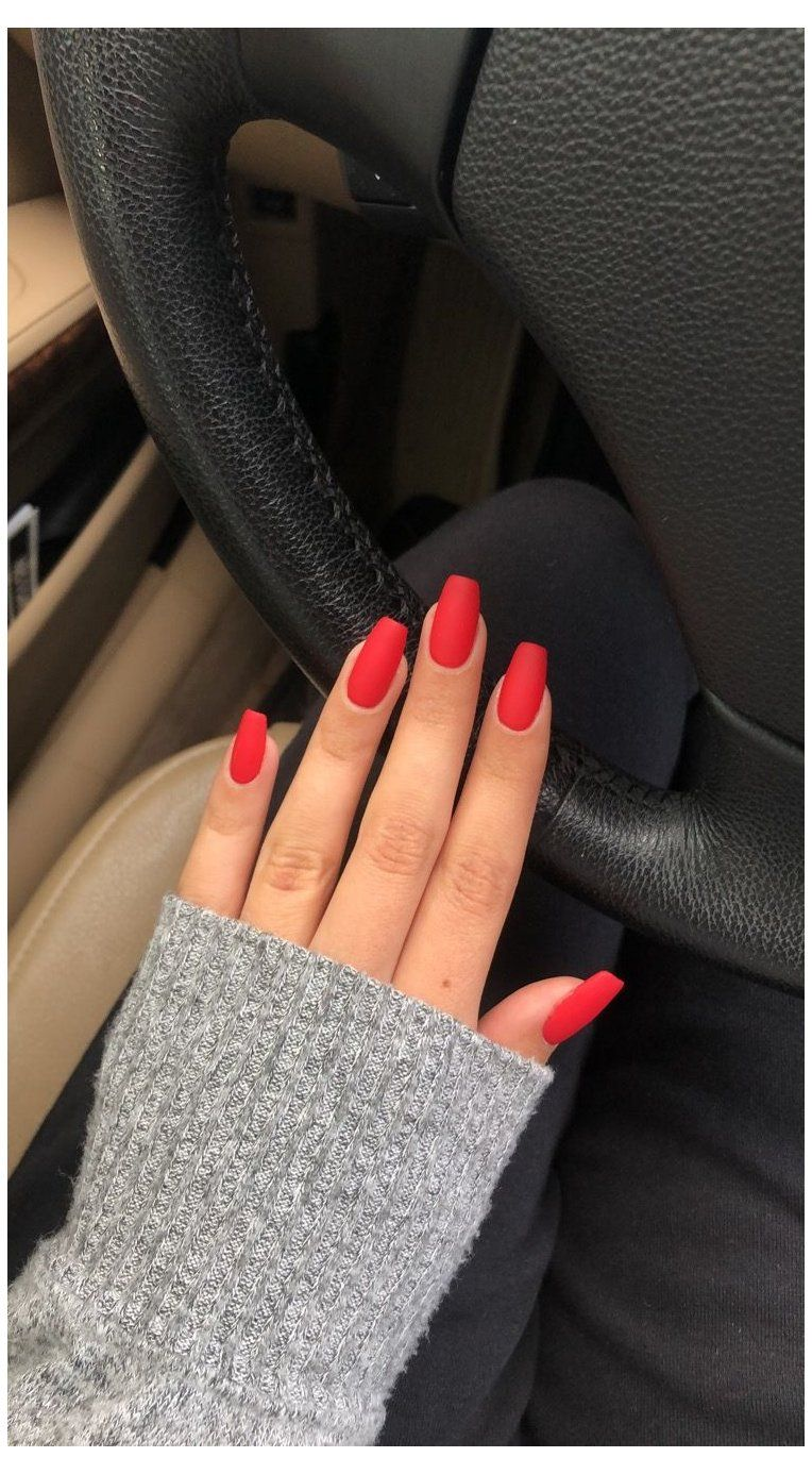 Red Matte Coffin Square Nails Fall Winter Valentine S Day Short Coffin Nails Red Red Matte Cof In 2020 Acrylic Nails Coffin Short Square Acrylic Nails Square Nails
