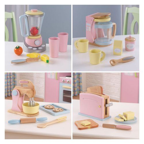 kidkraft kitchen pastel wooden play food set toaster mixer