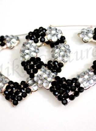 Piano Rhinestone Hoops,  Jewelry, hoops rhinestones black silver earrings bling, Urban / Streetwear