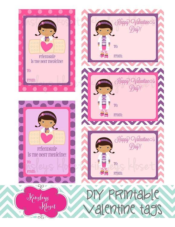 Printable Doc McStuffins Valentine Cards Valentine Tags Girls Doc