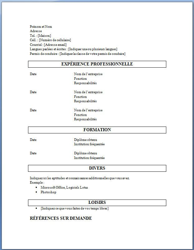 B Exemple B Et Modele De Cv B Exemple B De Cv Cv Words Simple Cv Microsoft Word Document