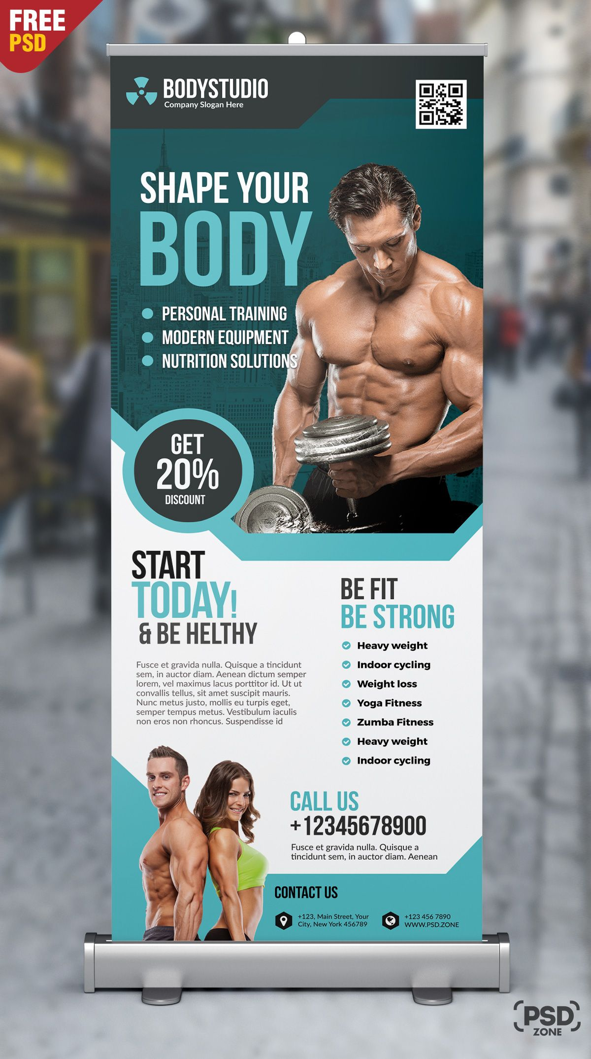 Gym Roll Up Banner Free Psd Roller Banner Design Banner Design Layout Banner Ads Design