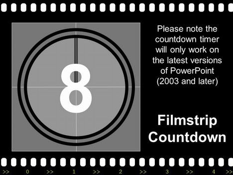 filmstrip with countdown powerpoint template - one of a number of, Presentation templates
