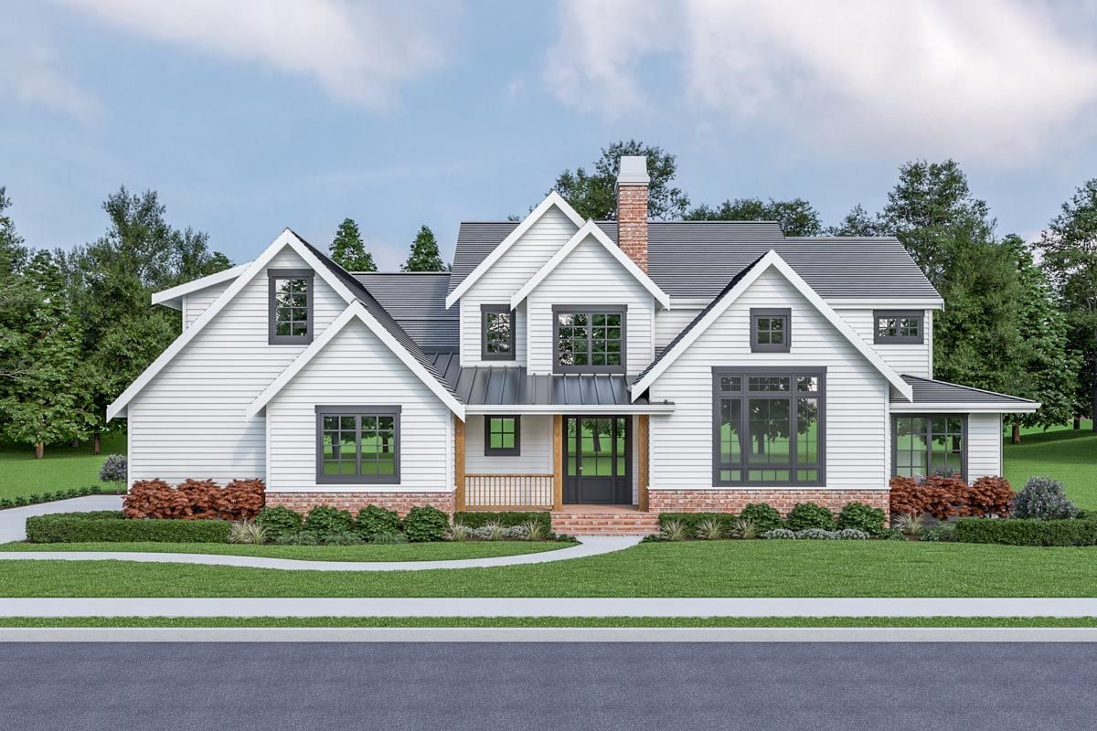 Plan 280085jwd New American Farmhouse Plan With Upstairs Bedrooms In 2020 Farmhouse Style House Plans Farmhouse Style House Farmhouse Plans