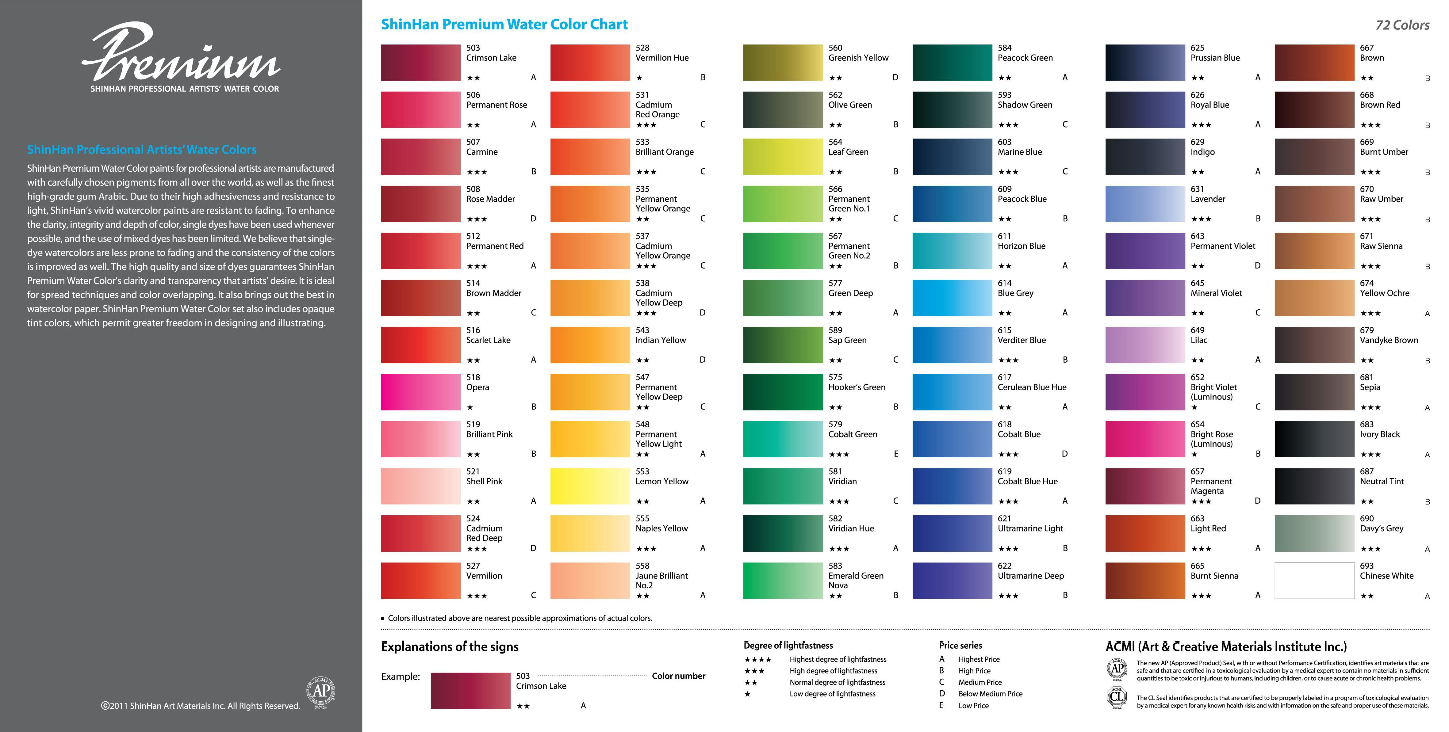 Shinhan Watercolor Paint Color Chart Paint Color Chart