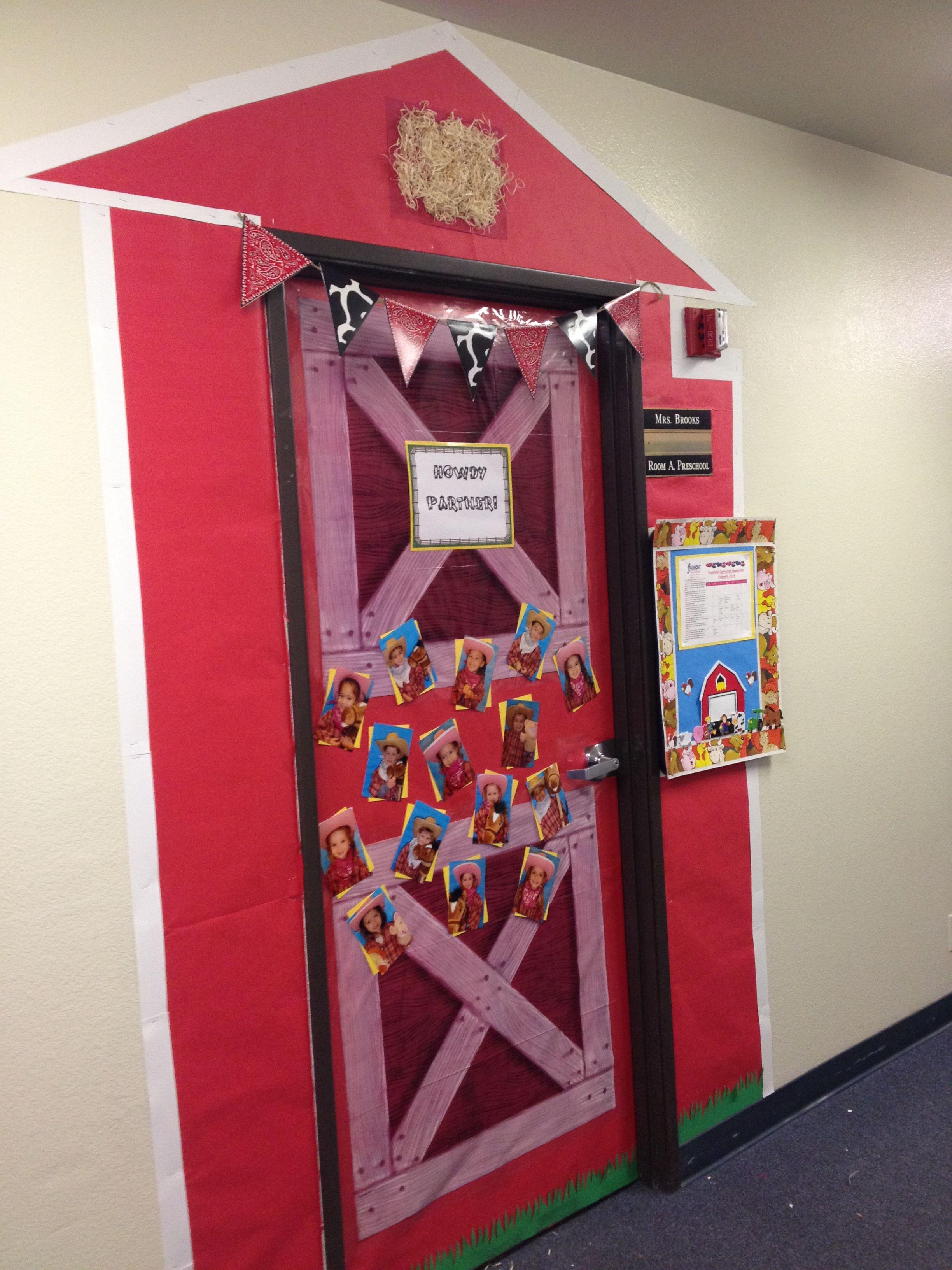 Barn door classroom decoration western