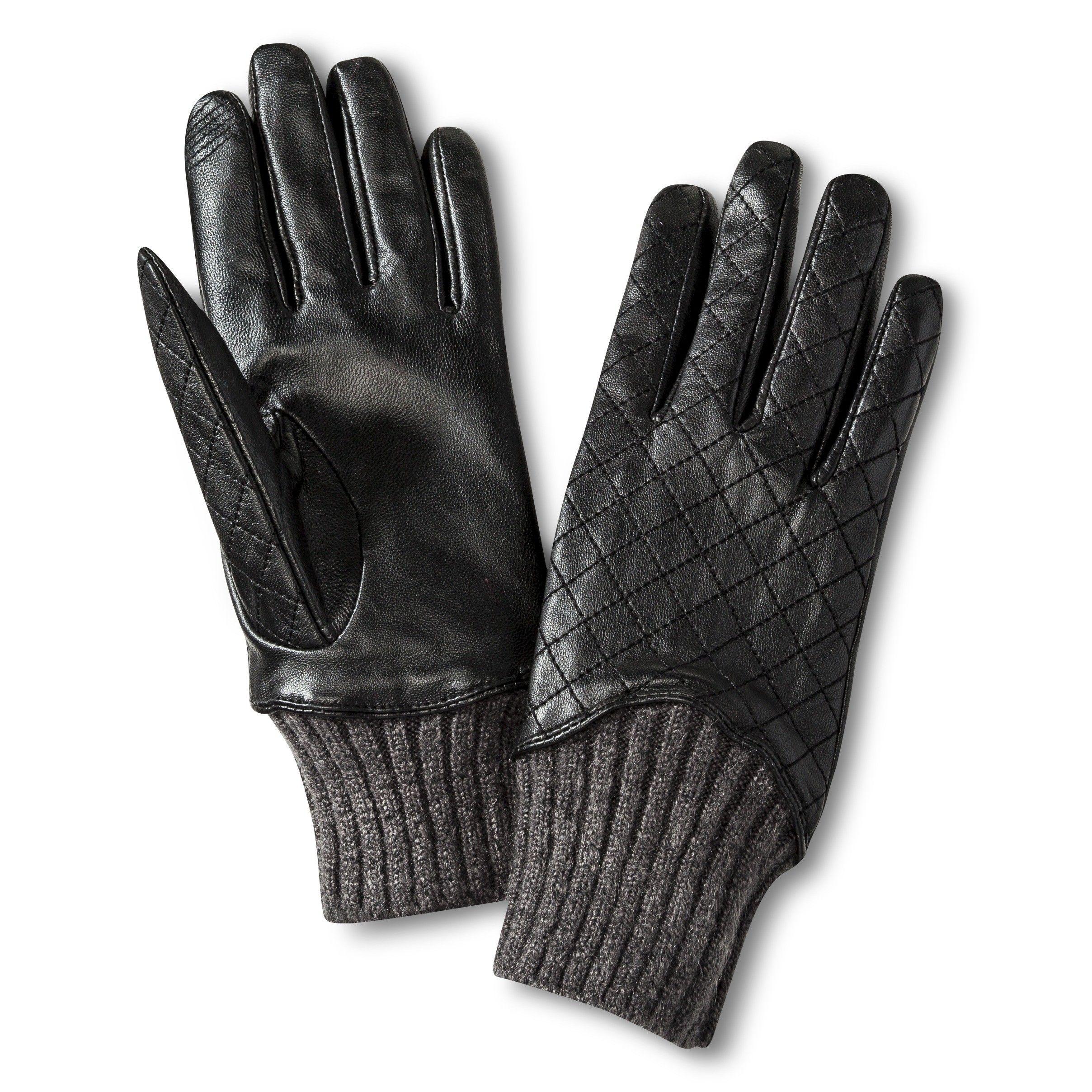 Black gloves at target - Women S Leather Gloves With Knit Detail Black Target