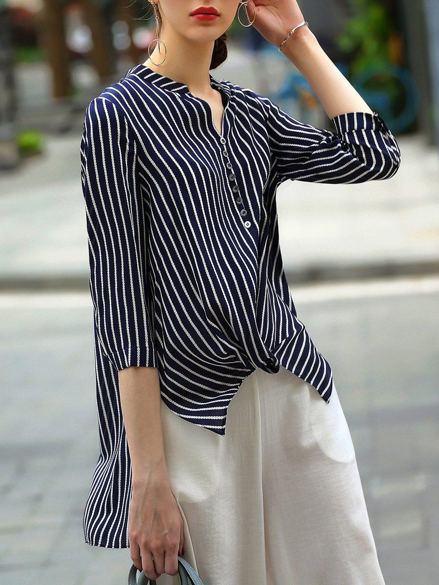 4adf1a874af Shop Blouses - Asymmetric Casual 3 4 Sleeve Stripes Blouse online. Discover  unique designers fashion at StyleWe.com.