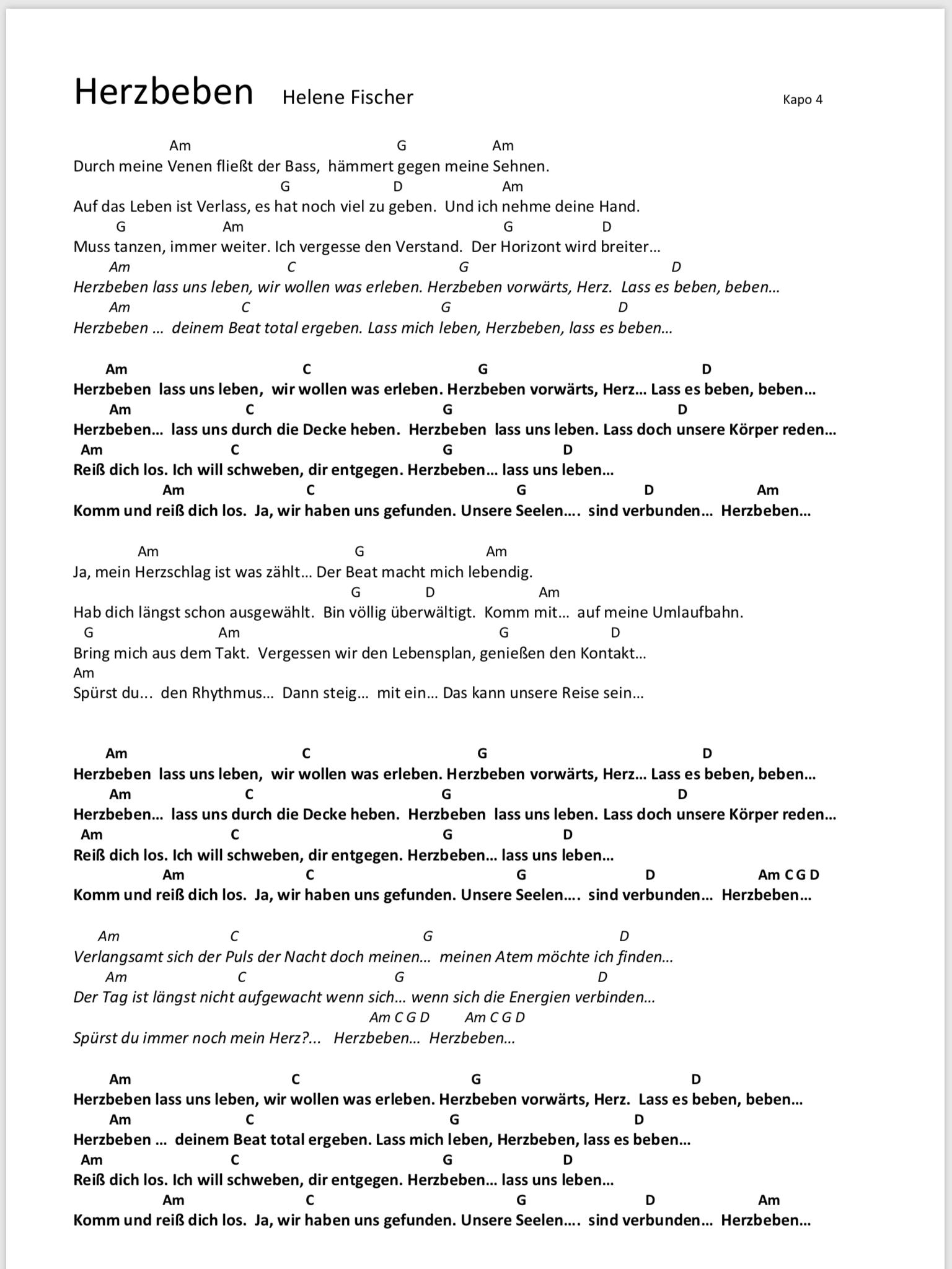 Herzbeben Helene Fischer Songtext Und Akkorde Gitarrenlieder Gitarre Lieder Ukulele Lieder