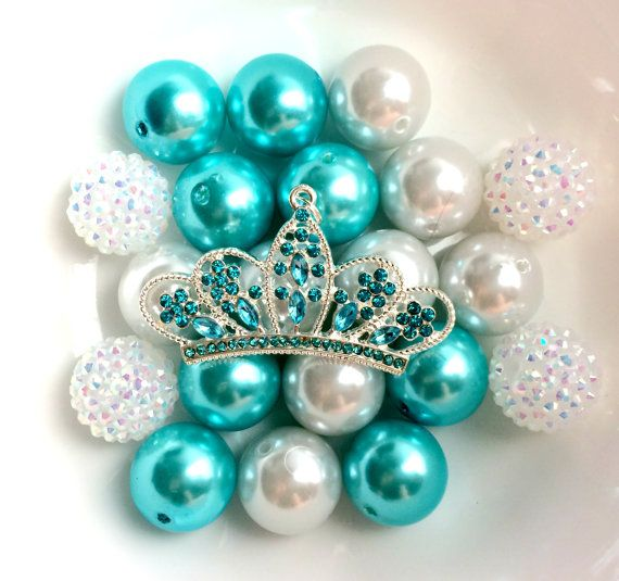 Turquoise Blue Rhinestone Crown Chunky Bead by Theboutiquefairy, $9.50