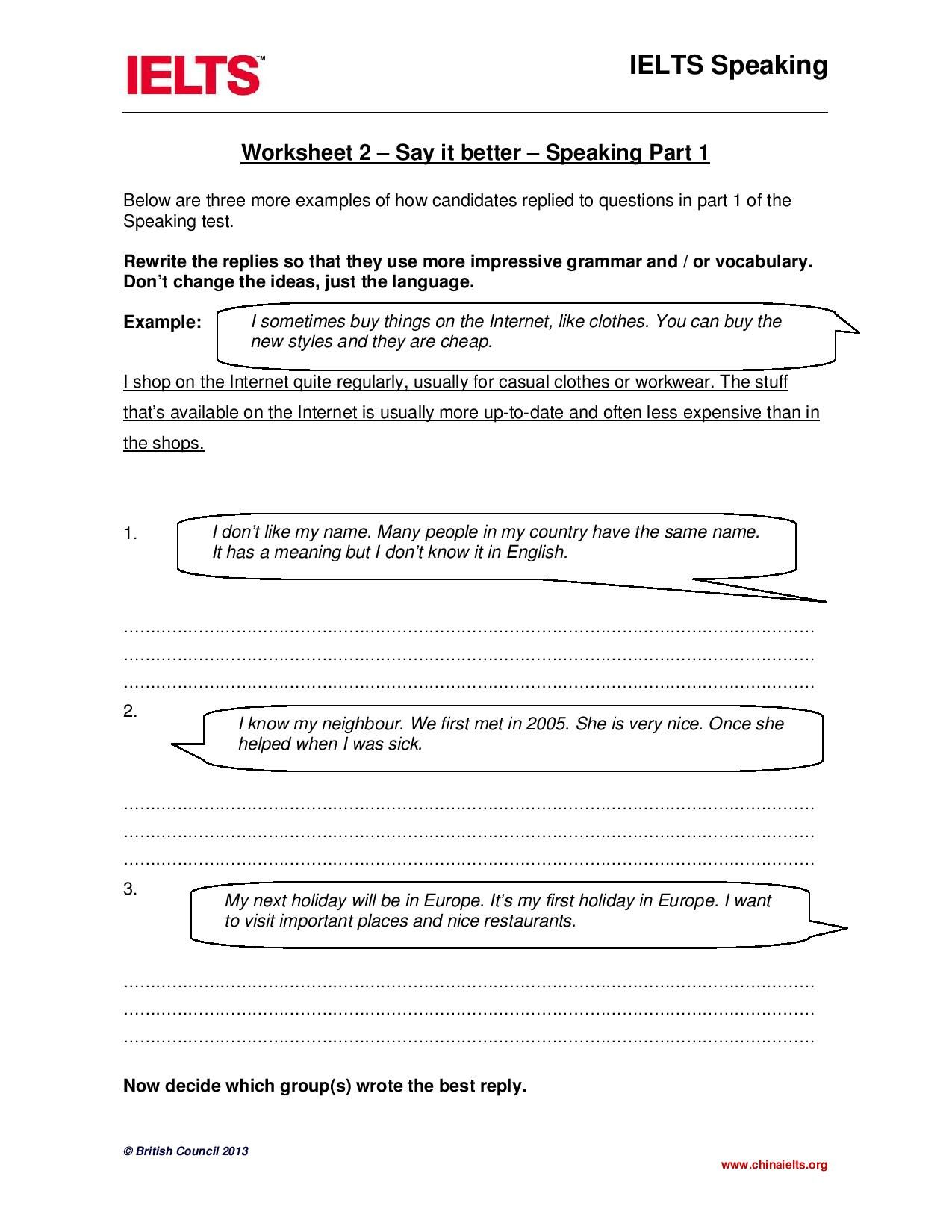 Worksheet 2 Say It Better Speaking Part 1