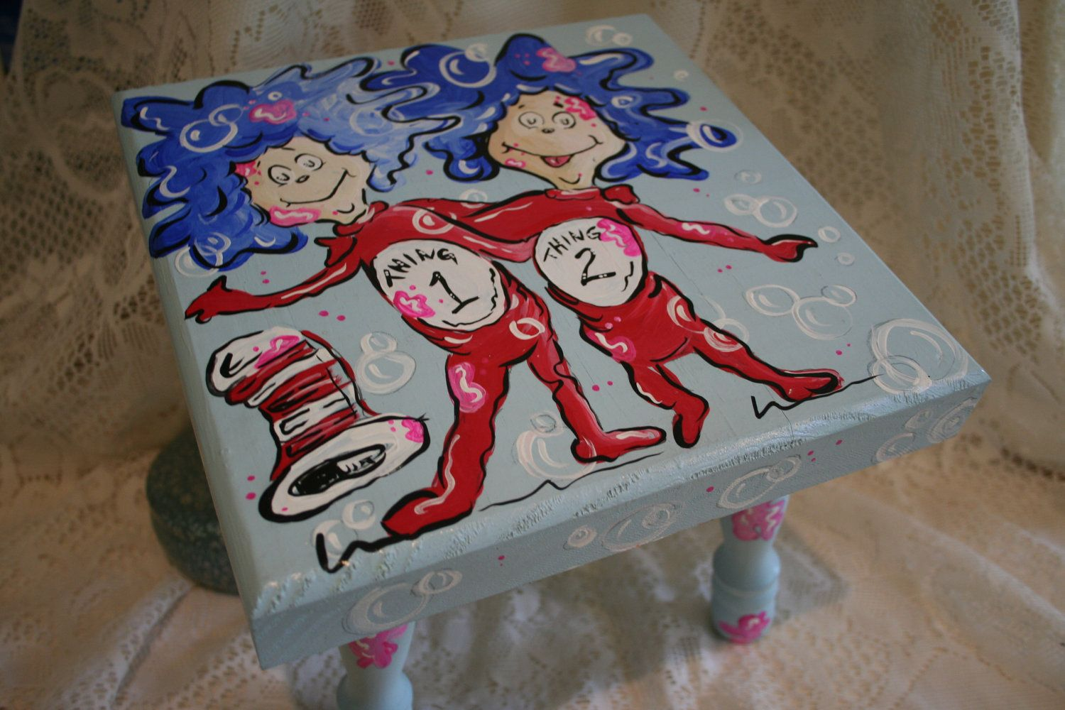 Dr Seuss Inspired Thing 1 And Thing 2 Child S Stool Chair