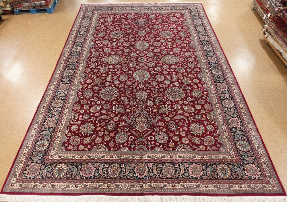 Kashann Rug Hand Knotted Wool Red Navy New Oriental Carpet 12 X 18 Unbranded Traditionalpersianorientalkashann Rugs On Carpet Oriental Carpets Area Carpet