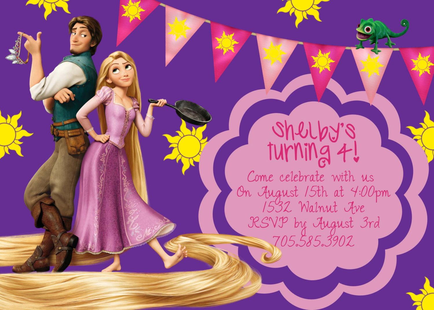 Tangled Rapunzel Purple Birthday Invite Card Can be Personalized – Invitation Greetings for Birthdays