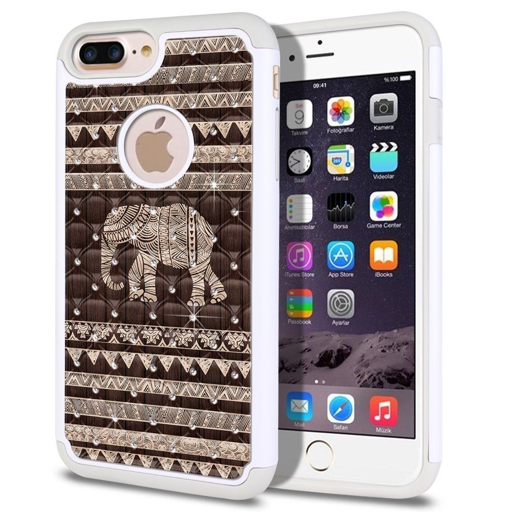 Apple iPhone 7/8 Plus 5.5 inch Case, Fincibo (TM) Dual Layer Shock Proof Hybrid Hard Protector Cover Anti-Drop Silicone Star Studded Rhinestone, Doodle Brown Aztec Elephant