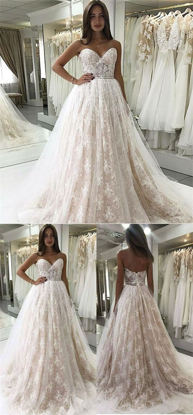 Aline sweetheart sweep train lace wedding dress with appliques