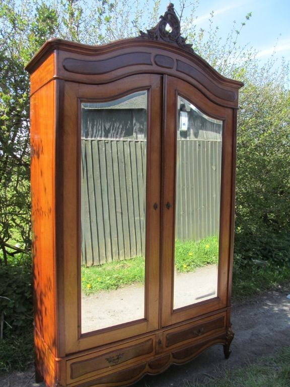 Antique French Mahogany Louis XV Style 2 Door Mirrored Armoire Wardrobe  #Victorian