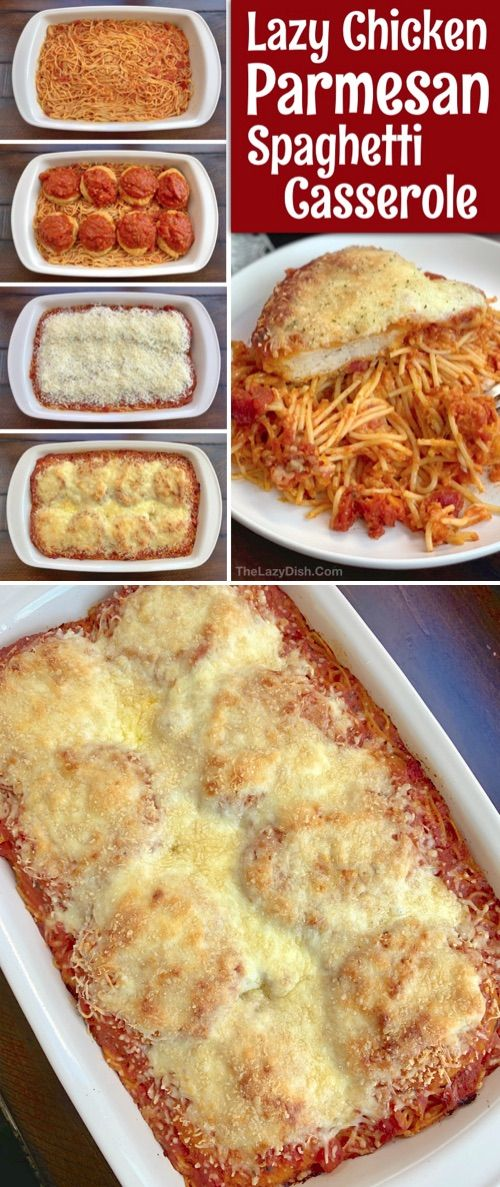 Easy Dinner Idea!! Chicken Parmesan Spaghetti Casserole Looking for quick and easy dinner recipes f