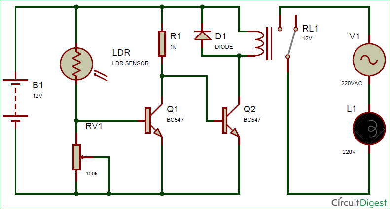 Schematic Diagram for Automatic Street Light using LDR and relay   Electronic Circuit Diagrams