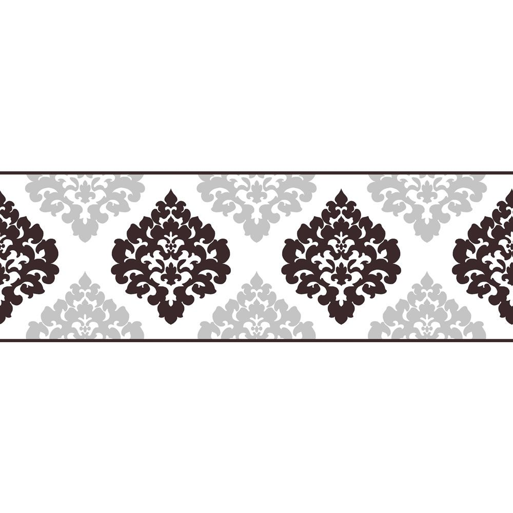 Fine Decor Damask Wallpaper Border Black/Silver 5mx17.5cm