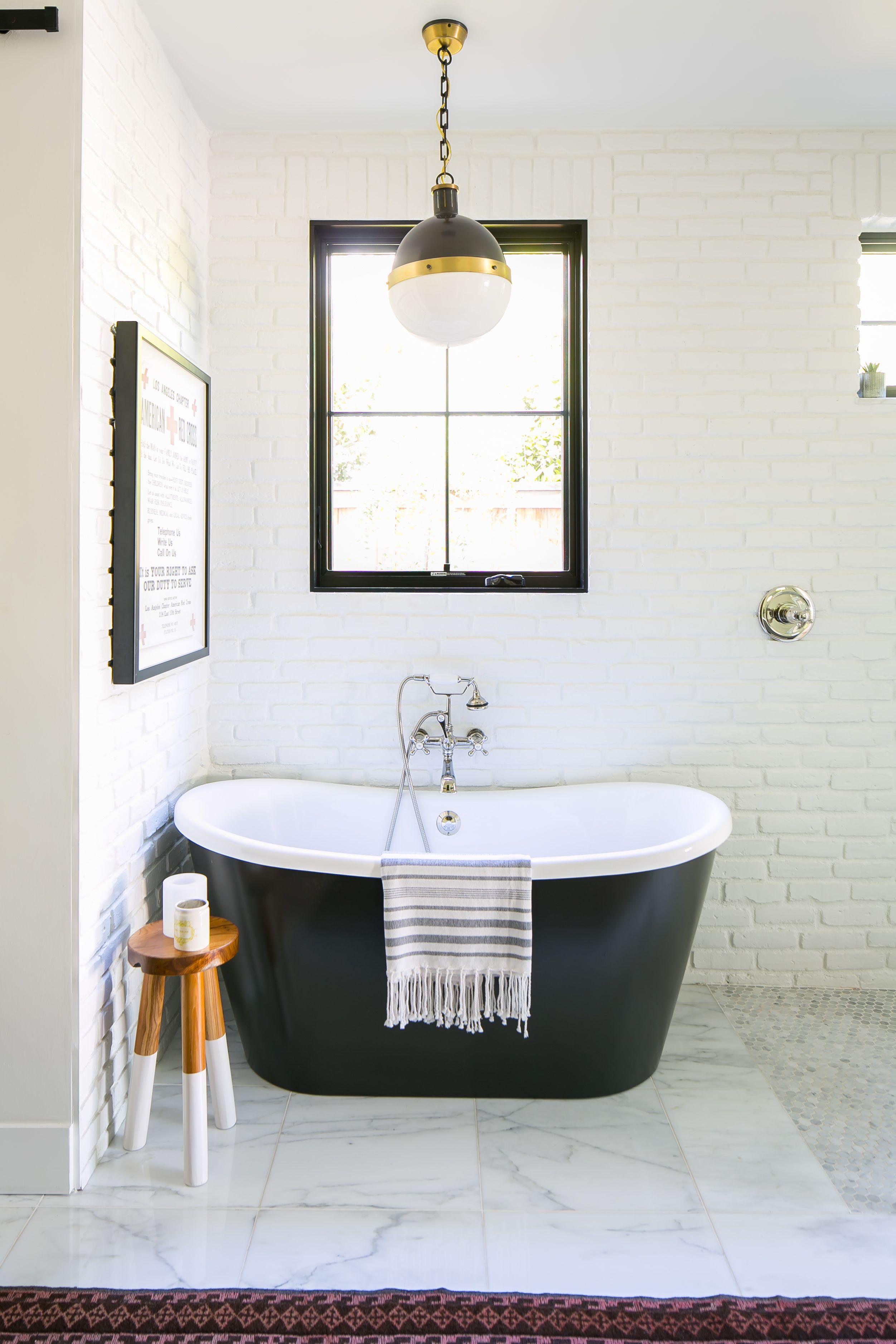 Whitewashed Modern Vintage Inspired California Home Tour Brick Bathroom Bathroom Trends White Bathroom