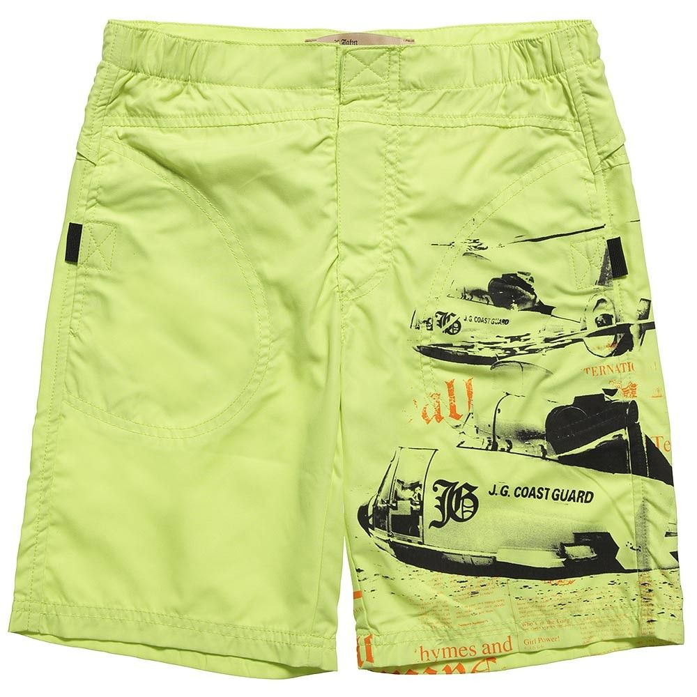 John Galliano Boys Green Swim Shorts at Childrensalon.com