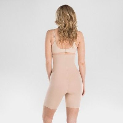 8756f72e9d Assets by Spanx Women s Shaping Micro HW Mid Thigh Shapers - Light Beige 1X