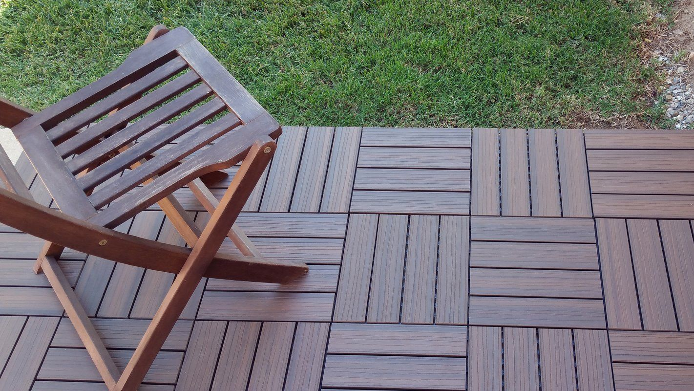 Vifah Composite Walnut 12 X 12 Interlocking Deck Tiles Reviews Wayfair Deck Tiles Deck Tile Building A Deck