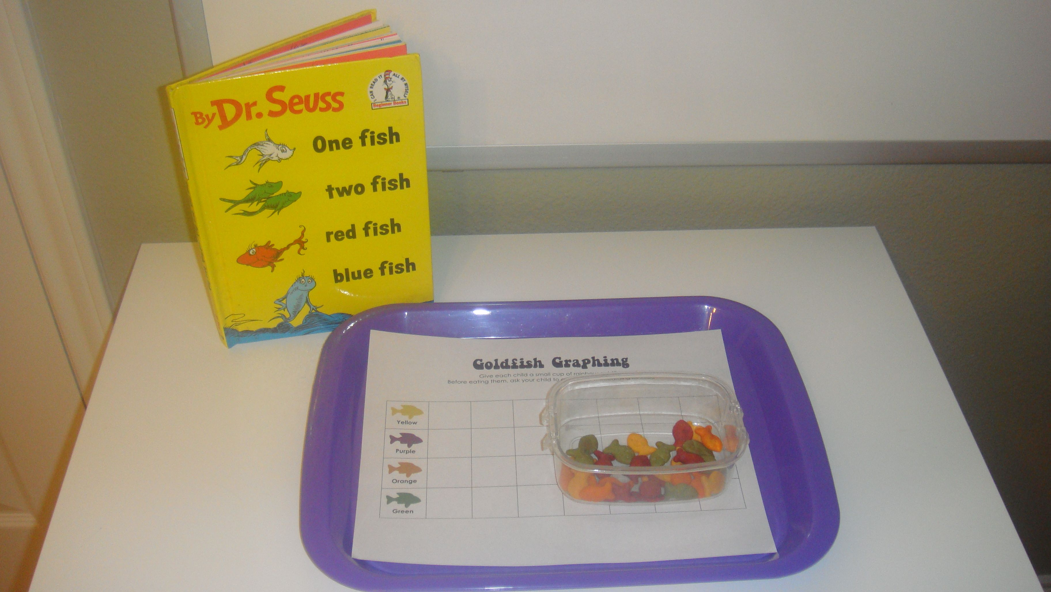 Toddler School Tray Dr Seuss Goldfish Graphing And Read