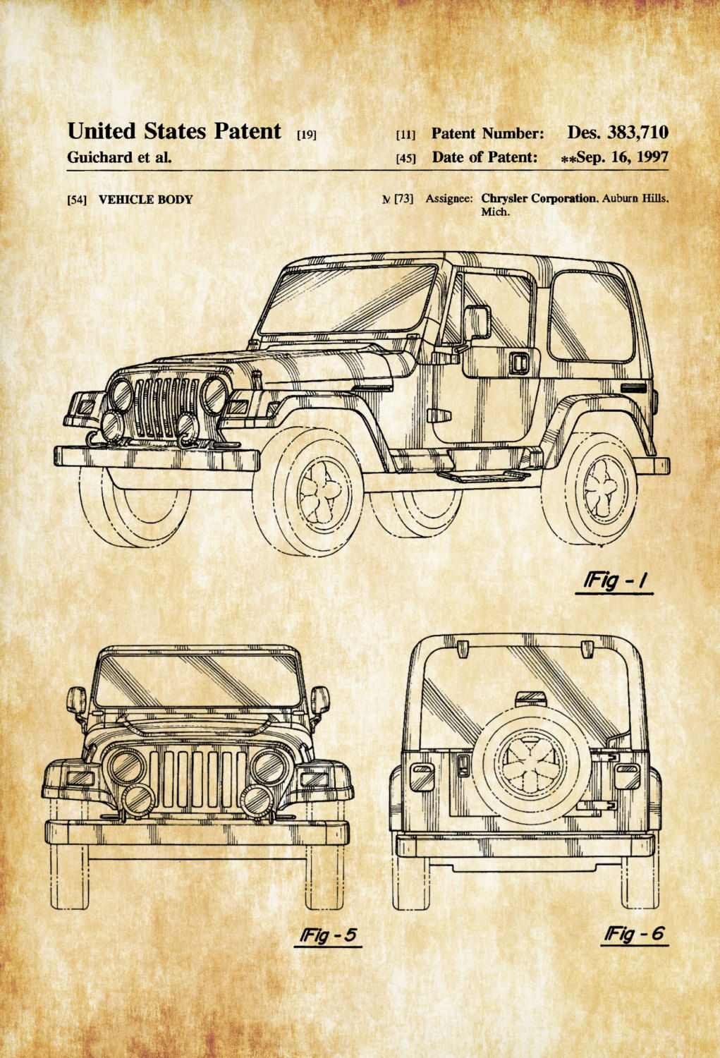 Jeep wrangler patent patent print wall decor automobile decor a patent print poster of a 1997 jeep wrangler tj designed for chrysler corporation the patent was issued by the united states patent office on september 6 malvernweather Gallery