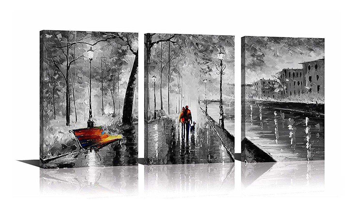 YPY 3 Panel Palette Knife Oil Paintings