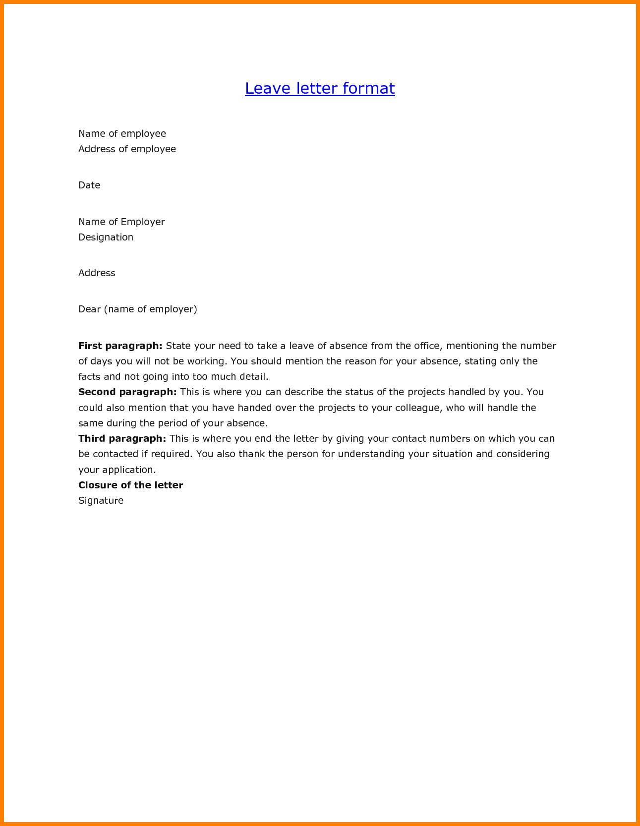 leave letter from office ledger paper cover for job letters example ...